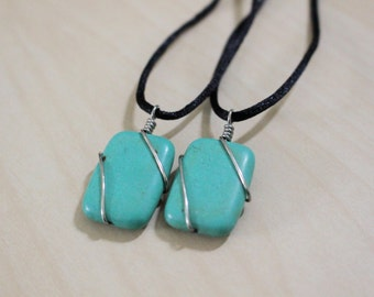 Turquoise Magnesite Rectangle Necklace