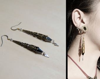Mystic Hematite spikes gypsy witch jewelry earrings