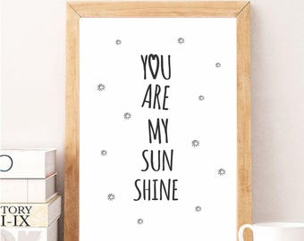 You are my sunshine, Digital art, Inspirational quotes, Wall art, Wall decor, Home decor, Kids, Nursery