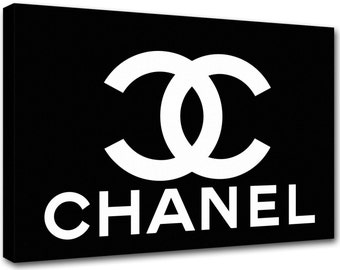 Chanel painting logo black and white art ch13 - modern art, interior decoration - canvas printed Made in Italy
