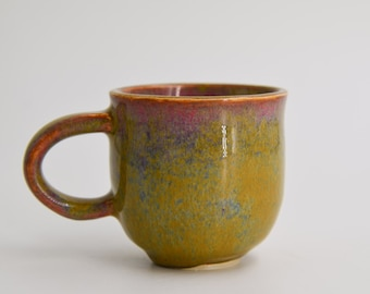 Handmade Coffee Mug. Unique Espresso cup. Green glaze.