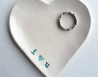 "Heart Shaped Ceramic Jewelry Dish - ""I Love You"""