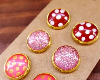 Free shipping! Glitter earrings, stud earrings, post earrings, glitter stud earrings, button earrings, polkadot earrings, polkadot