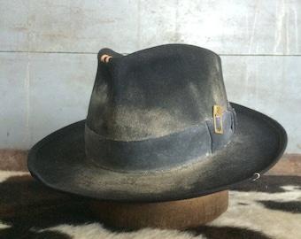 Black fedora black wide brim fedora aged and distressed black hat