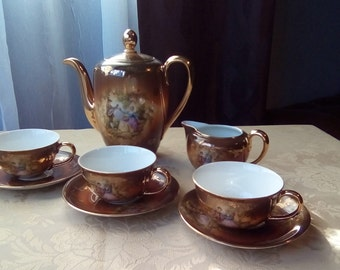 Fragonard Bavaria Tea Set, Bavaria Germany Fragonard Tea Set, Vintage German Tea Set