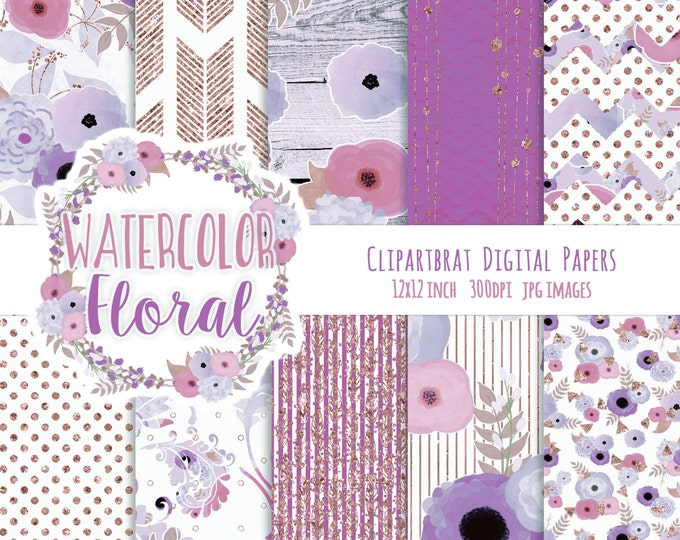WATERCOLOR FLORAL Digital Paper Pack Purple & Rose Gold Metallic Glitter Commercial Use Digital Paper Wood Arrows Boho Wedding Digital Paper