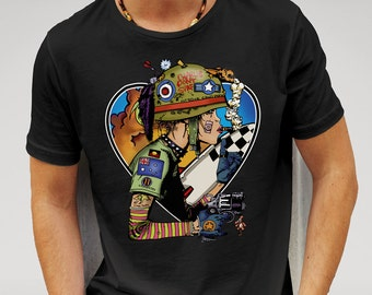 Mens Designer We Love Tank Girl Printed Cotton Black T-Shirt
