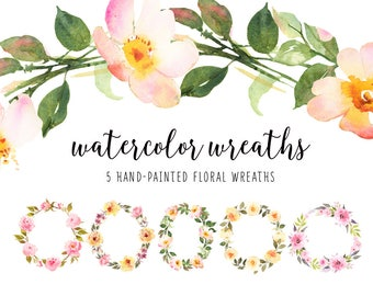 Watercolor wreath, Floral Clip Art, Watercolor illustration bundle, Boho wreath, Wedding wreaths, Bohemian roses, Boho wreath, Wedding roses