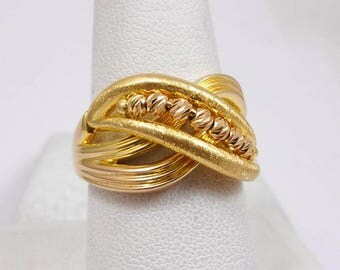 Solid 21K Yellow Gold Sparkling Spinning Bead Ring, Size 9, Syria, 6.1 grams