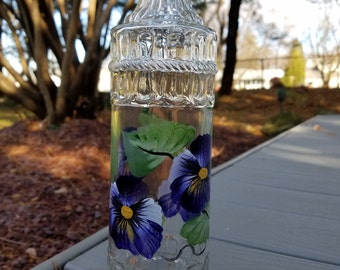Pansy oil bottle/vinegar bottle/ salad dressing bottle/soap bottle/fancy water bottle, purple Pansy handpainted bottle, hostess gift