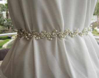 Pearl bridal sash, wedding dress belt, bridal accessories, rhinestones belt