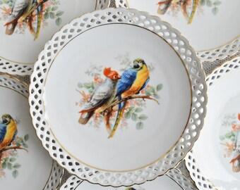 Plate vintage perfored plate Schumann Bavaria Germany dessert plate german porcelain openwork porcelain plate