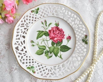 Vintage plate - RESERVED - perfored porcelain plate Schumann Arzberg Bavaria Germany No. 1 rose with 22 carat gold plate german