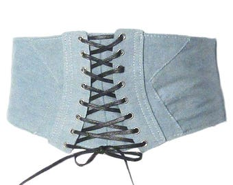 Stylish Lace Up Retro Light Blue Denim Corset Belt