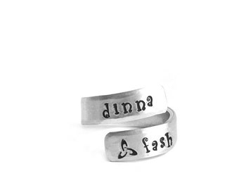 Outlander Inspired Dinna Fash Wrapped Ring | wrap around | handmade stamped metal jewelry | sassenach | jammf | gaelic