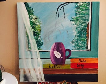Coffee by the window, painting.