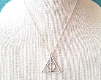 Silver Deathly Hallows Pendant . Necklace . Harry Potter Jewelry