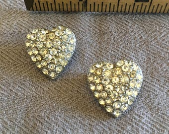Two rhinestone heart pins