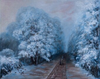 Original Oil Painting Palette Knife Landscape Fine Art on Canvas  Winter Park inspired by Ivan Aivazovsky