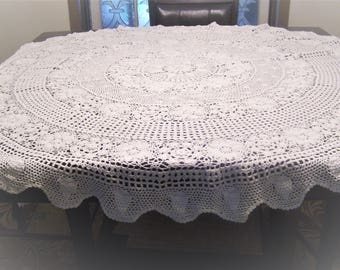 "Vintage Hand Crocheted 63"" Round White Tablecloth Farmhouse, Cottage, Shabby Chic"