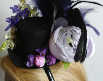 Purple Flower & Feather Fascinator