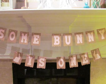 Some Bunny is One Happy Birthday Banner - Birthday Party Garlands, Celebration, Easter Bunnies, Easter Egg Hunt, Pink or Blue, Boy or Girl