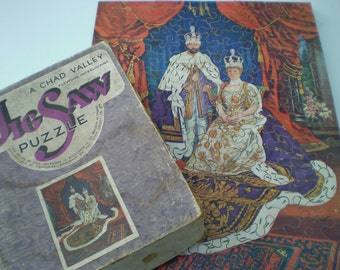 Chad Valley Wooden Jigsaw Puzzle : King George V and Queen Mary - Coronation June 1911 - 150 Pieces - British Royalty - England