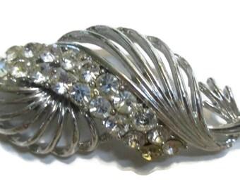 Rhinestone Brooch, Leaf  Pin,  Silver  Tone,  Mid Century Jewelry 1960s