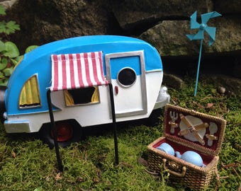 Miniature camper fairy garden terrarium decor