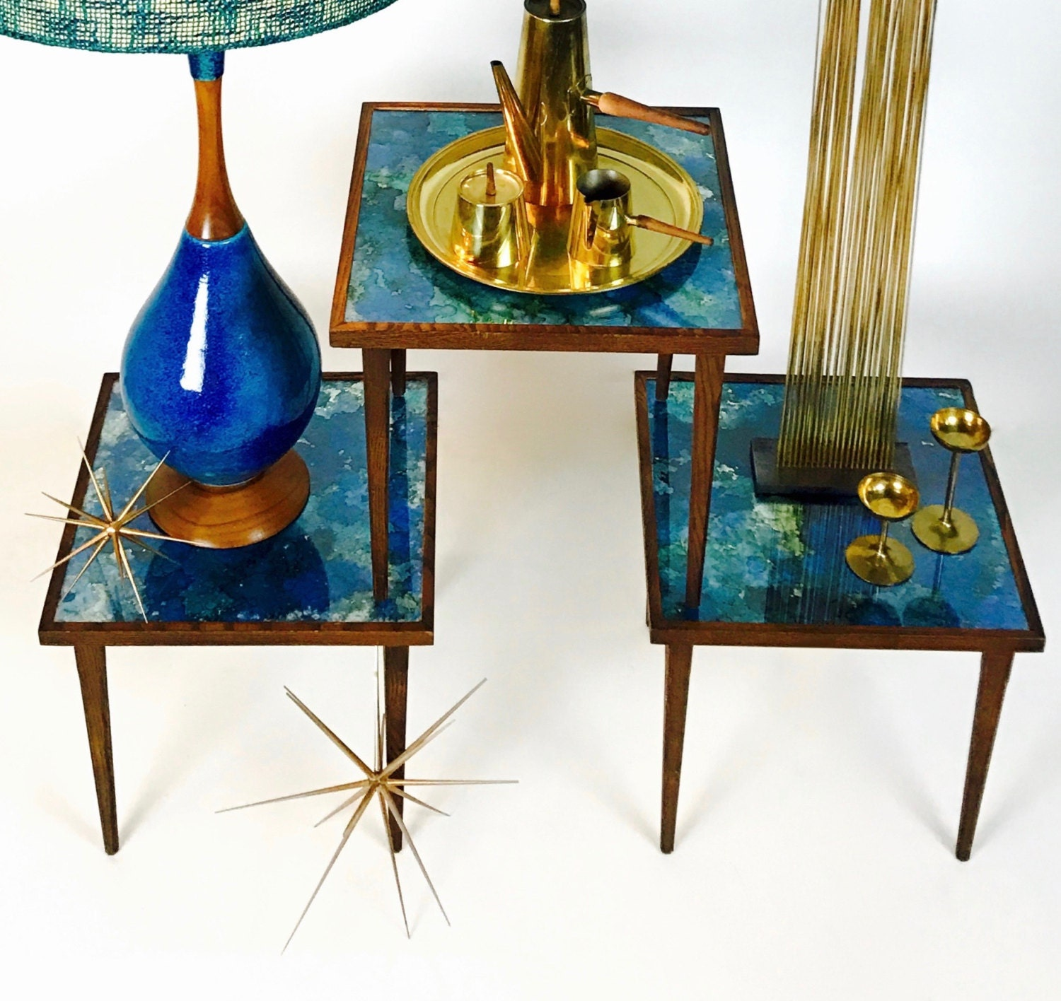 Stained Glass Coffee Table Sold Mid Century Modern Set Of 3 Nesting Tables In The Manner Of