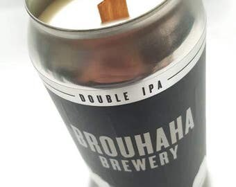 Soy candle with a wood wick.Upcycled Brouhaha Beer Can. Choose your own fragrance