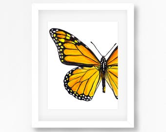 Monarch Butterfly Watercolor Fine Art Print