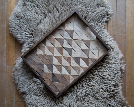 Wood Serving Tray | Wood Tray | Reclaimed Wood | Decorative Tray| Rustic Geometric| Table Tray | Triangle Fade | Dark |