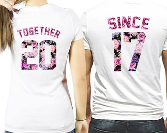 Together Since shirts, together since couples shirts, together since matching couple shirts, matching partner shirts, together since shirts