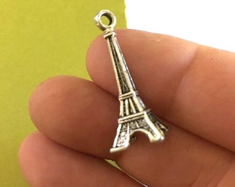 Eiffel Tower Charm. 3pcs Antique Silver Tone 3D Pairs Eiffel Tower Charm 30x9mm. Building Pendant. Paris Charm. Eiffel Tower - ( 3 - 0022K)