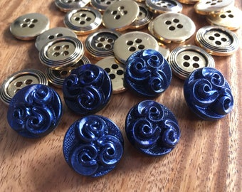 6 beautiful old collector / glass buttons - buttons Art Nouveau - blue purple iridescent buttons