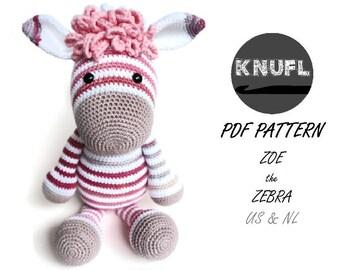 CROCHET PATTERN Zoe zebra & donkey Alex