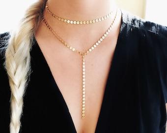 Gold Coin Lariat Necklace, Coin Lariat Necklace, Gold Y Necklace, Coin Necklace, Gold Disc Lariat
