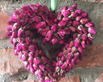 Dried Rose buds heart, Chabby chic decor, Mother's DAY gift Wedding gift Wedding decor Pink Rose buds Heart