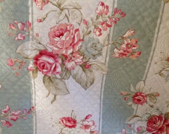 Beautiful Floral Upholstery Yardage Tan Green Floral Stripe