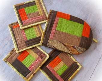 Warmer for teapot  Quilted Coasters Set of 4 Christmas in July Patchwork coasters Quilted Tea Pot Cozy Fabric drink coaster