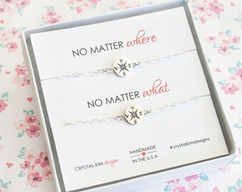 No Matter Where No Matter What, Compass Bracelet for 2, Friendship Bracelet, Mother Daughter Gift, Sister Gift, Graduation Gift