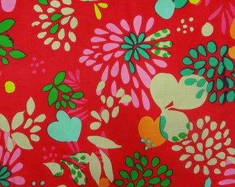 "Designer Fabric, Home Decor, Indian Dress Fabric, Floral Print, Red Fabric, 45"" Inch Cotton Fabric By The Yard ZBC7513A"