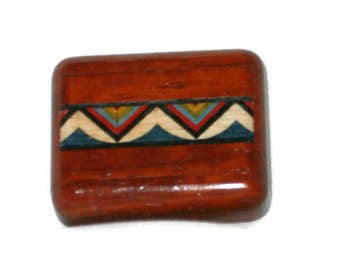 "Wood Pill Box | Indian Mountains | Padauk Wood | 1.75""L x 1.5""W x 0.5""D"