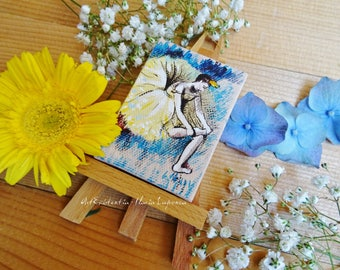 Mini canvas with easel Degas dancers, original, hand-painted acrylic on canvas 5 x 7 cm