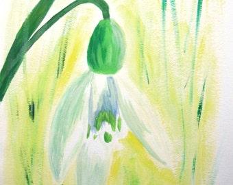 """Original painting with acrylic """"Snowdrop"""""""
