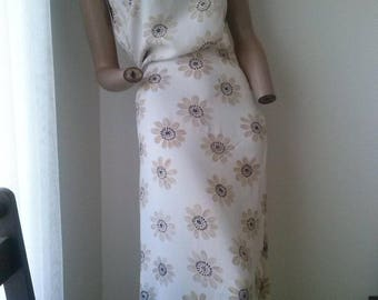90s style floral full length dress with buttoned thigh split size 16-18