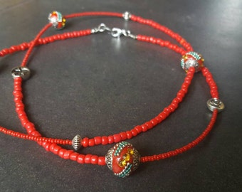 Chinese New Year Necklace, Long Beaded Red Necklace, Glass Seed Beads, Indonesian Beads, Bali Beads, Year of the Rooster, Boho Necklace