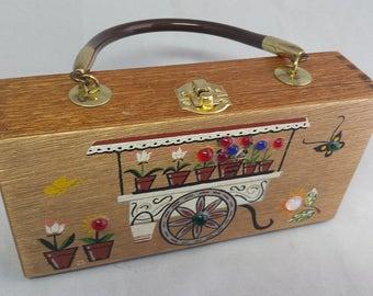 Vintage Gary Gails Dallas Wooden Flower Cart Box Purse