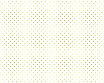 Lime Swiss Dots on White by Riley Blake Designs - Green Polka Dot - Quilting Cotton Fabric - by the yard fat quarter half